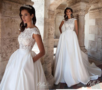 2016 New White A- line Wedding Dresses with Pockets Cheap Bat...