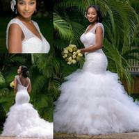 Vintage Plus Size Mermaid Wedding Dresses Beading Sheer Deep...