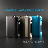 Аутентичный Tesla Nano TC 60W Box Mod Встроенный 3600mah Battery Temp Control 510 Thread Fit Uwell Rafale CROWN TANK Барчелор RTA Crius RTA