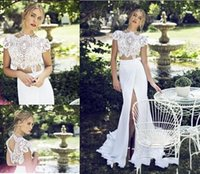 Two pieces of Lace Chiffon Wedding Dresses High Neck Front S...