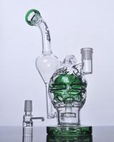 Tuyau d'eau en verre Double recycleur Showerhead perc plates-formes pétrolières Fab Egg Bong en verre Crâne avec des fentes 14 mm joint
