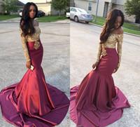Off Shoulder Gold Lace Applique Long Sleeves Satin Mermaid E...