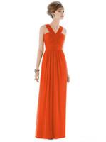 Альфред Санг Tangerine Tango 2015 Плюс размер Bridesmaids платья дешевые Холтер шифон оранжевой Длинные Backless Формальное выпускного вечера партии платья Dessy d678