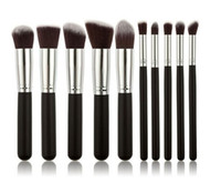 Kabuki cepillos del maquillaje 10pcs / set cepillo cosmético profesional del kit de nylon de madera de pelo manejar muchos colores para elegir