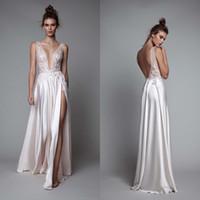 Berta 2017 Side Split Evening Dresses Appliques Backless Pro...