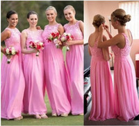 Pink Off shoulder Bridesmaid Dress Jewel Chiffon Floor lengt...