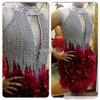 Новые высокой шеи платья партии коктеила Sparkly Crystals до колен 2016 горячего сбывания вечера Случай мантий с оперением 3D цветы ручной работы