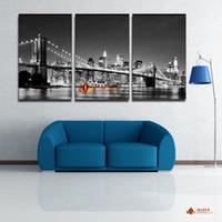 Горячие Продаем 3 шт HD Печать холст Современная настенная живопись Нью-Йорк Бруклинский мост Главная декоративного искусства Картина Краска на отпечатки на холсте