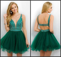 2016 Short Emerald Green Homecoming Dresses Sexy Back with R...