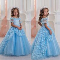 2017 Light Sky Blue Pricess девушок цветка шнурка Аппликация Тюль Длинные Довольно маленькие девочки девочек платья Pageant платья свадьба