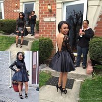 2017 Fashion Little Black Homecoming Dresses V Backless Part...