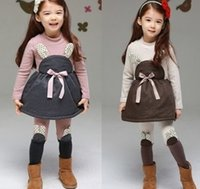Winter Children Girls Bunny Design Cute Long Sleeve Dresses ...