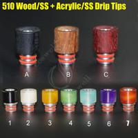 510 conseils de goutte à goutte bois acrylique en acier inoxydable jetable énorme atomiseur pointe vaporisateur large alésage Embouchure goutteur e cig réservoir RDA Dripping de vapeur