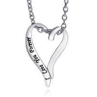 2016 pendentif en forme de cœur pendentif main gravure gravée Je t'aime collier en argent sterling bijoux Cadeau de la Saint-Valentin