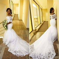 2017 vestidos de casamento New Fashion Lace sereia fora do ombro mangas meia Zipper Voltar Tribunal nupcial do casamento Train Vestidos Custom Made