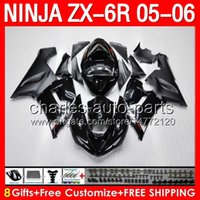 8gifts ALL black Fairing Kit For KAWASAKI NINJA ZX 6R 636 05...