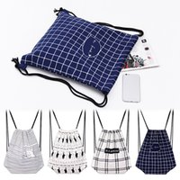 Newest drawstring printed canvas cloth fabric backpack cotto...