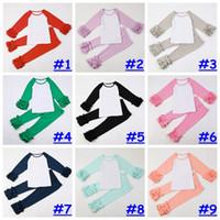 2017 A menina da forma do bebé do equipamento do Ruffle da menina multi-coloured personalizou as calças personalizadas 2pcs ajustaram 14colors para 1-10T escolhem livre