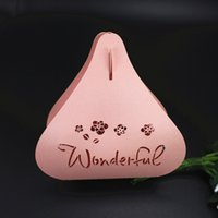 Sweet heart- shaped wed favor box gift box pink peal paper wo...