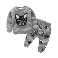 Hot Sale 2016 Spring new children girls cotton sweater + cat...