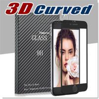 3D Curved iPhone 6 6S Temered protecteur d'écran en verre, couverture complète iPhone verre 6S Plus protection écran couleur primaire avec le paquet Retail