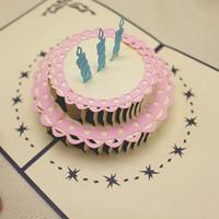 Free shipping birthday card birthday cake designe greeting c...