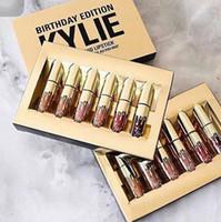 NOUVEAU Gold Kylie Jenner lipgloss Cosmetics Birthday Edition limitée Matte Lipstick Lip gloss Mini Lip Kit Lip avec paquet de détail en or