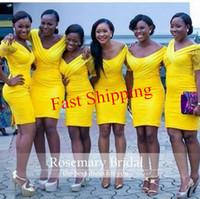 Yellow Hot Sale Short Bridesmaids Dresses Knee Length Slim S...