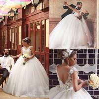 Саид Mhamad арабский Свадебные платья V шеи рукава Cap Аппликации Бисер Backless Свадебные платья Тюль Длина пола Великолепные свадебные платья
