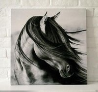 Подставил черный белый конь, Чистая Ручная роспись Современная картина стены маслом на холсте высокого качества. Много размеров Доступен moore2012