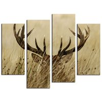 Amosi Art-4 Pieces Настенная живопись Реализм Живопись Холст Печать Красивый олень в траве для гостиной Декор (с деревянной рамой)