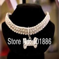 wholesale!luxury sparkling 3 row rhinestone necklace for dog...