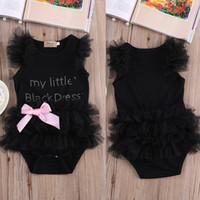 cute Baby Girls bodysuits my Little Black Dress letter print...