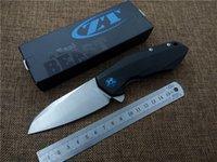 Flipper folding knife bearing D2 blade G10 stee handle Zero ...