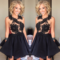 Sexy Women Summer Black Applique Short Prom Party Dresses Se...