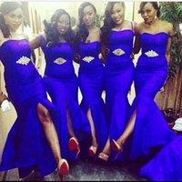 2017 Новый Royal Blue невесты платья Русалка Sexy Милая Передняя Разделить Вечерние платья партии Длинные горничной честь платьев BA2239
