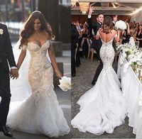 2016 Великолепная Стивен Khalil Дубай Русалка труба Свадебные платья с плеча Полная длина шнурка Backless Свадебные платья Платье De Noiva