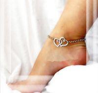 2016 New Double heart sexy anklet Bracelet on the leg girl l...