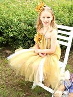 Cute Gold Тюль девушок цветка Дешевые На складе Длинные девушки Повседневные платья с ручной цветок Летний маленьких девочек партии платья MC0197