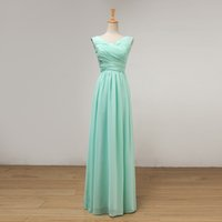 Capped V Neck Pleated Floor Length Bridesmaid Dress Mint Gre...
