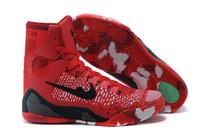 Red Color flower printed fashion men shoes Kobe 9 high cut b...
