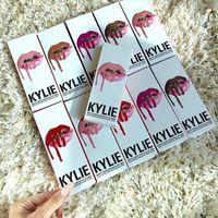 ¡24 colores !! KIT DE LABORATORIO DE KYLIE JENNER Kylie Matte Líquido labial Lip Liner Kylie labio Velvetine en el maquillaje de terciopelo rojo 1set = 1lipstick + 1lipliner