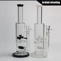 Diamond Glass - Gear Works Percolateur double chambre pipe d'eau 35cm bongs bon marché tubes hookah avec 18.8mm joint blanc noir Livraison gratuite