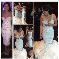 Stunning Crystal Mermaid Wedding Dresses Beaded Flouncing Ru...