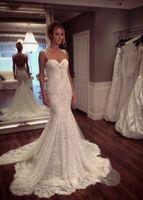 Elegant SexyLace Tulle Mermaid Wedding Dresses 2016 Spaghett...