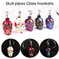 NOUVEAU Crâne coloré Tubes en verre narguilés Bong Zinc AlloyGlass avec un tuyau en cuir Pipes Mini Portable Fumeurs Accessoires Lipstick Pipe