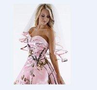 Реальные изображения Элегантный Camo Короткие фату Колено Длина Розовый Камо ленты края фаты волос Pieces для невест выполненные на заказ 2017 года