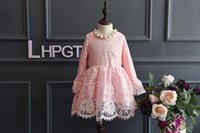 Fashion Spring Autumn Korean Girls lace Pink Dresses Tulle D...