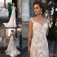 Champagne Milla Nova Appliques Lace Wedding Dresses Jewel Ne...