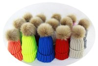 new Fashion Beanie Classic Tight Knitted Fur Pom Poms Hat Wo...